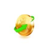 Flecha verde en moneda de oro Imágenes de archivo libres de regalías