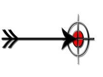 Flecha y blanco Imágenes de archivo libres de regalías