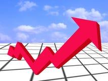 Flecha y gráfico Crecimiento-rojos financieros Fotografía de archivo