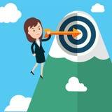 Flecha y lanzamiento del control de la empresaria a la meta ilustración del vector