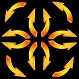 flechas 3D en un fondo negro Fotografía de archivo libre de regalías