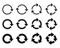 Flechas alrededor de iconos gr?ficos determinados S?mbolos de la rotaci?n ilustración del vector