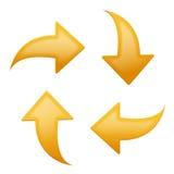 Flechas amarillas fijadas - cuatro direcciones Imagenes de archivo