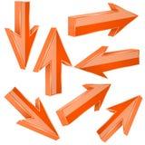 Flechas anaranjadas 3d Sistema de muestras rectas brillantes Imagenes de archivo