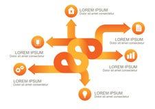 Flechas anaranjadas de Infographic con los iconos redondos, te del fondo del vector stock de ilustración