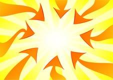 Flechas anaranjadas que señalan el centro Imagenes de archivo