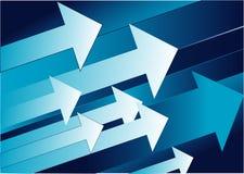 Flechas ascendidas en fondo azul Fotos de archivo