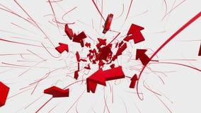 Flechas ausentes que vuelan en rojo en blanco almacen de video