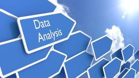 Flechas azules con el análisis de datos de las palabras Imagen de archivo