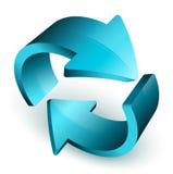 Flechas azules en círculo Imagen de archivo libre de regalías