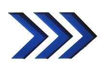 Flechas azules a la derecha Fotografía de archivo