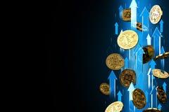 Flechas azules que destacan como subidas del precio de Bitcoin BTC Aislado en fondo negro, espacio de la copia Los precios de Cry stock de ilustración