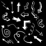 Flechas blancas del garabato Imágenes de archivo libres de regalías