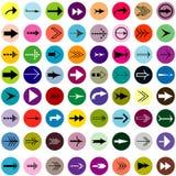 Flechas blancos y negros fijadas en círculos coloreados Imagen de archivo libre de regalías