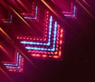 Flechas brillantes y rayas que vuelan sobre fondo púrpura. Imagen de archivo libre de regalías