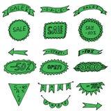 Flechas, cintas y ventas verdes de las etiquetas engomadas Imagen de archivo libre de regalías