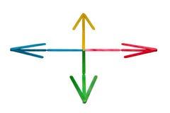 Flechas coloreadas Imágenes de archivo libres de regalías