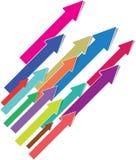 Flechas coloridas 3D aisladas en el fondo blanco imagen de archivo