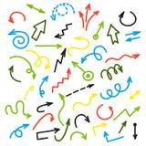 Flechas coloridas de la tinta Grupo del vector de flecha de dibujo en el fondo blanco libre illustration