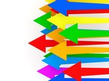 Flechas coloridas en el fondo blanco Fotografía de archivo