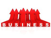 Flechas crecientes rojas de la palabra del negocio en el fondo blanco Imágenes de archivo libres de regalías