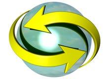 Flechas curvadas que dan vuelta alrededor de una esfera stock de ilustración