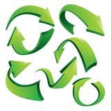 Flechas curvadas verde 3D Fotos de archivo