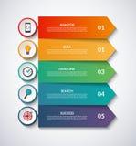 Flechas de Infographic con los elementos circulares del diseño Vector la plantilla de la disposición de 5 pasos, opciones stock de ilustración