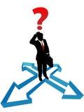 Flechas de la dirección de la indecisión del hombre de negocios de la pregunta stock de ilustración