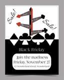 Flechas de la dirección Folleto de la tarjeta de la bandera de Black Friday Imagen de archivo libre de regalías