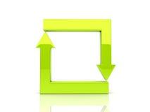Flechas de la esquina verdes en ciclo stock de ilustración