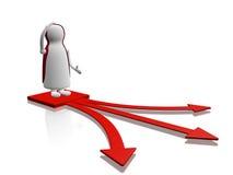Flechas de la opción de la decisión del carácter de la confusión Imagen de archivo