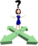 Flechas de la pregunta de la mujer de la historieta de la indecisión Fotografía de archivo libre de regalías