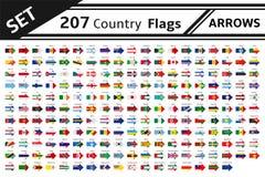 207 flechas de las banderas de país Imágenes de archivo libres de regalías