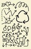 Flechas del Doodle Imagenes de archivo