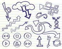 Flechas del Doodle fijadas Foto de archivo
