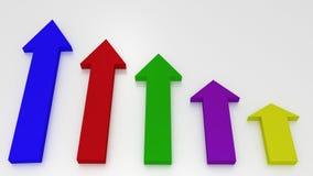 Flechas del gráfico coloreado que señalan para arriba en el fondo blanco Financia stock de ilustración