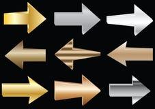 Flechas del metal del vector Imagen de archivo libre de regalías