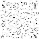 Flechas dibujadas mano aisladas del vector fijadas Fotografía de archivo libre de regalías