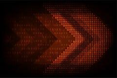 Flechas digitales del vector en un fondo anaranjado oscuro Fotos de archivo libres de regalías