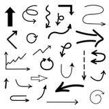 Flechas drenadas mano del vector fijadas Imágenes de archivo libres de regalías