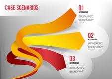 Flechas elásticos 3D que representan tres direcciones Imagen de archivo libre de regalías