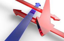 Flechas en diversas direcciones Foto de archivo libre de regalías