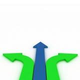 Flechas en tres direcciones con el espacio Fotos de archivo libres de regalías
