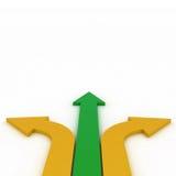 Flechas en tres direcciones con el espacio Fotografía de archivo libre de regalías