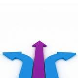 Flechas en tres direcciones con el espacio Imágenes de archivo libres de regalías