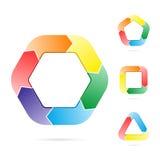 Flechas en un flujo del círculo de un objeto Imagen de archivo
