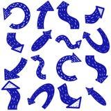 Flechas escandinavas Flecha drenada mano Las flechas azules del vector fijaron aislado en el fondo blanco Indicador para el negoc stock de ilustración