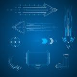 Flechas futuristas fijadas ilustración del vector