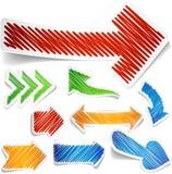Flechas garabateadas del color fijadas. Imagen de archivo